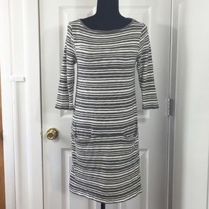 GAP | 3/4 Sleeve Striped Dress | Gray & White